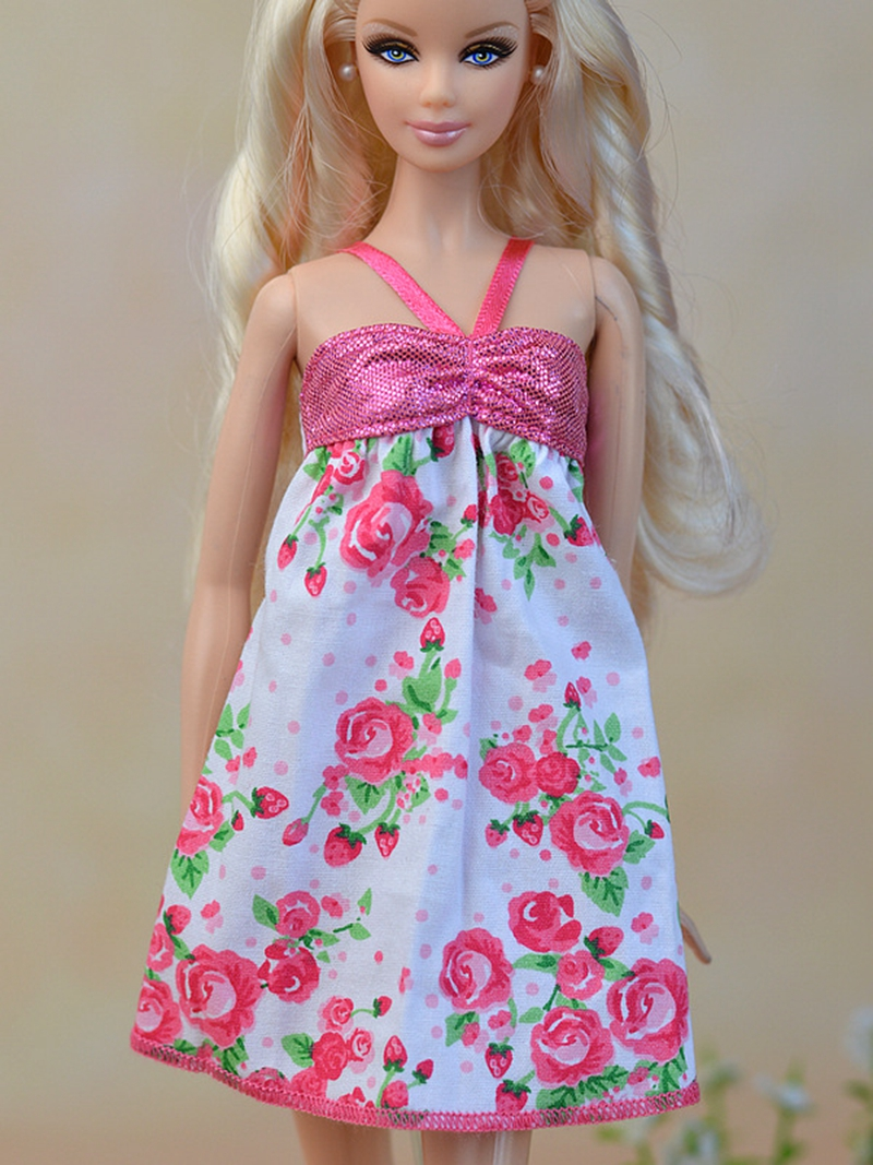 Pink Dolls Clothes Beautiful Handmade Fashion Party Dress For Barbie Doll High Quality Best Girls Gift Kids Toy