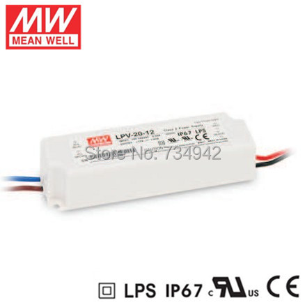 MEANWELL 12V 20W UL Certificated LPV series IP67 Waterproof Power Supply 90-264V AC to 12V DC meanwell 5v 130w ul certificated nes series switching power supply 85 264v ac to 5v dc