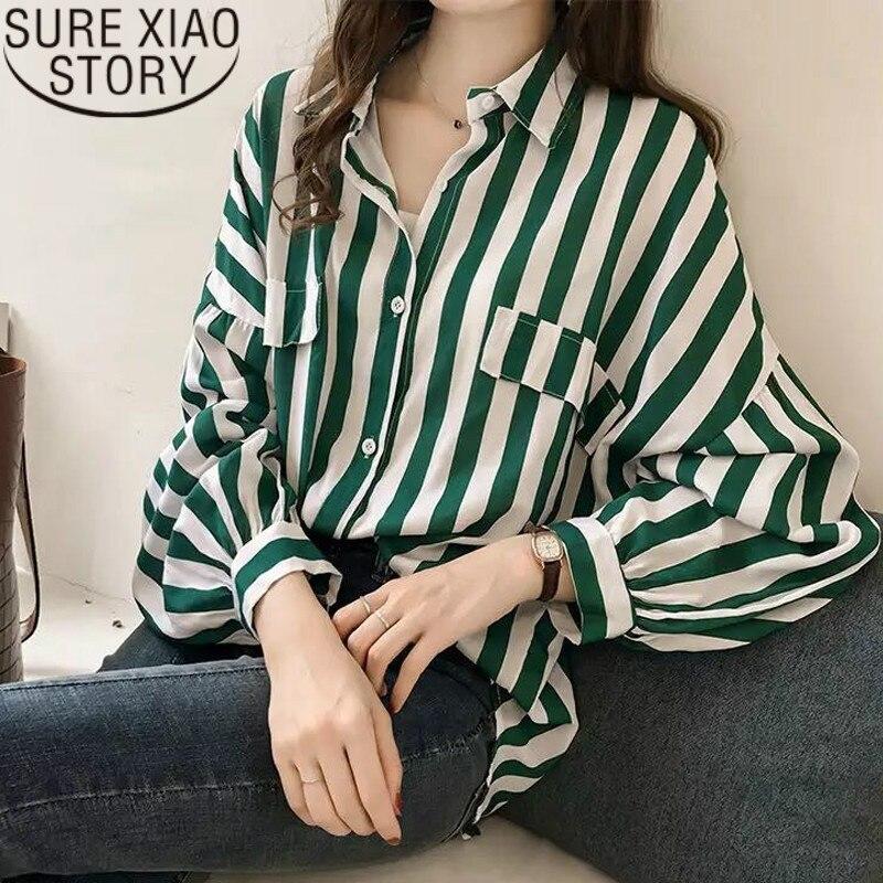 Fashion womens tops and   blouses   2018 elegant   blouse   women striped   blouse     shirt   long sleeve women   shirts   plus size tops 1728 50