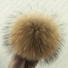 Pompón de piel de mapache Real bola de la Piel De 15 cm de BRICOLAJE Para Llavero Sombrero de Joyería Que Encuentra El Envío libre