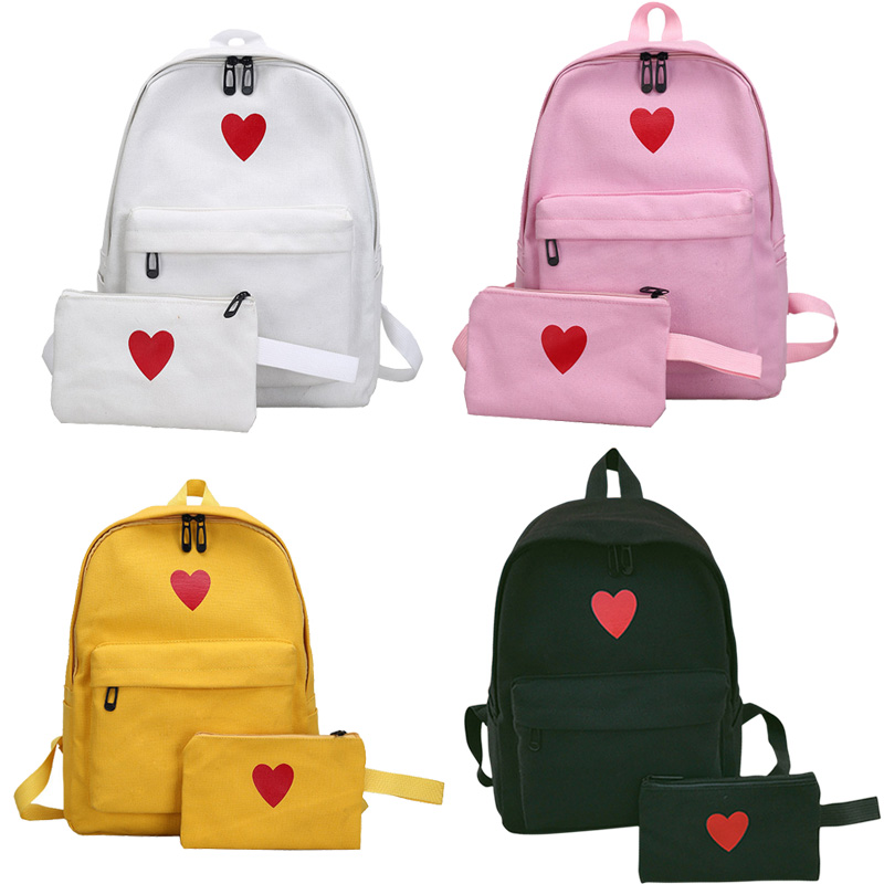 2 Pcs/Set Fashion Women Love Heart Printed Canvas Backpack Lady Travel Bag Girls Students Pencil Case School Bags Popular popular classic buildings printed unframed canvas paintings