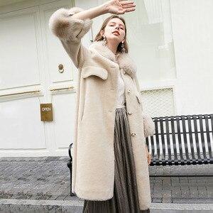 Новинка 2019 года; зимнее пальто из натурального Лисьего меха; длинное пальто из натурального меха; Женская Толстая теплая шерстяная куртка; ...