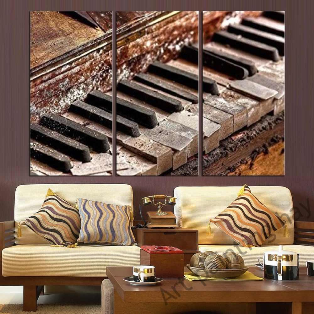 Украшение модульная Картина на холсте настенная художественная домашняя Современная рамка 3 панели музыкальное пианино гостиная HD печатные плакаты живопись