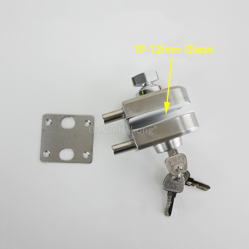 1PCS 304 Stainless Steel Frameless Glass Door Latch Locks For 10 12mm Thickness Glass Single Door With 3PCS Keys JF1770 in Locks from Home Improvement