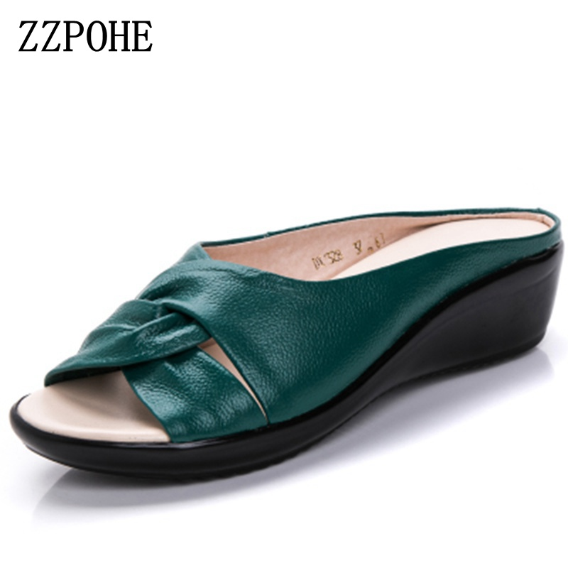 ZZPOHE Summer Shoes Slippers Ladies Sandals Comfortable Soft Flat Plus-Size Genuine-Leather