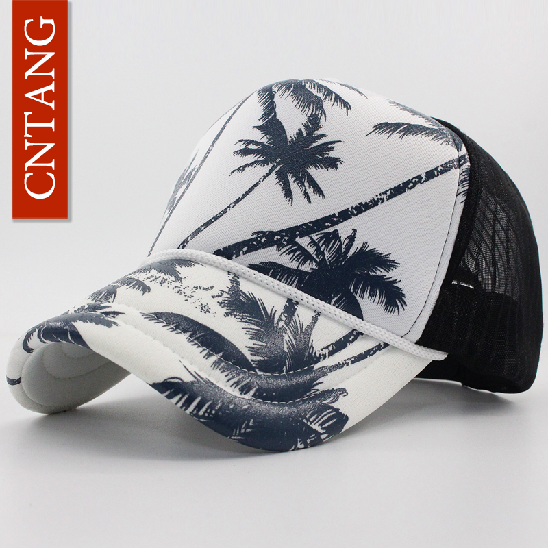 CNTANG Summer Trucker Hat Women Men Mesh Baseball Cap Fashion Hip Hop Print Coconut Tree Caps Snapback Casual Sun Hats Unisex