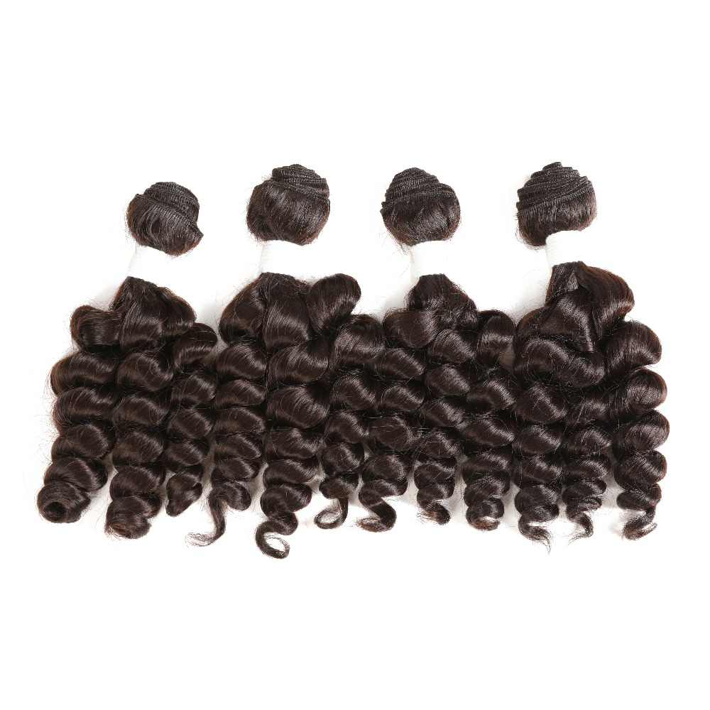 Funmi Curly Synthetic Hair Weaves 4 Bundles One Pack Two Tone T1B/#30 Short Hair Weft Extensions High Temperature Fiber SOKU