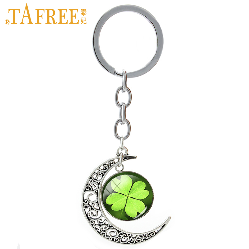 TAFREE Lucky jewelry Four Leaf Clover keychain spring good luck women mandala lotus flower tree of life pendant key chain T673 цены онлайн