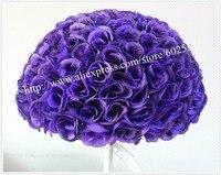 SPR 50cm 2pcs/lot purple wedding artificial silk flower ball plastic inner purple kissing ball 1pc=2pcs half balls