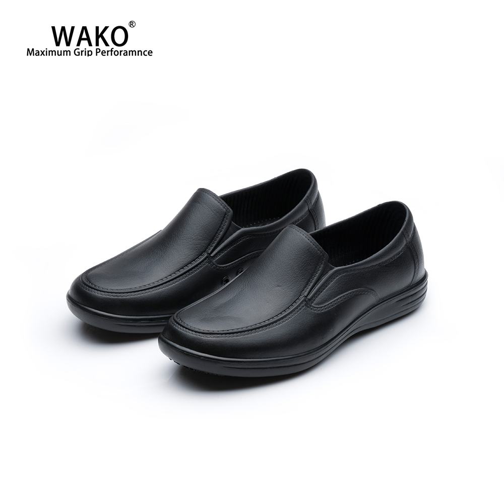 WAKO Chef Kitchen Shoes For Men Non-Slip Waterproof Restaurant Working Shoes Anti-Skid Safety Cook Shoes Breathable Black 9023