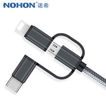 NOHON-Cable de carga Micro USB tipo C 3 en 1 para móvil, Cable de carga rápida para iPhone X, 8, 7, Oneplus 5, Samsung Galaxy S8