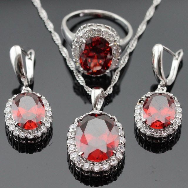 Made in China Red White Cubic Zirconia Silver Color Jewelry Sets For Women Earrings/Pendant/Necklace/Rings Christmas Gift