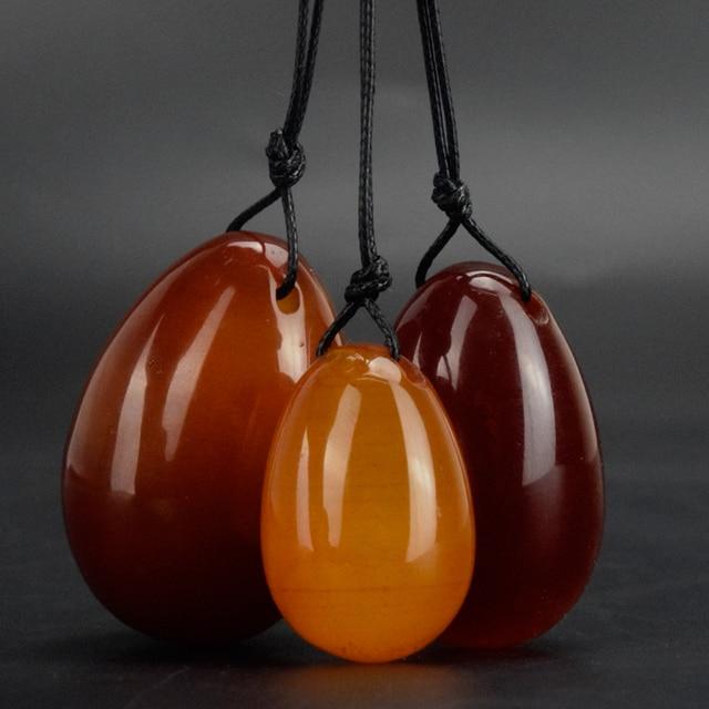 Drilled Jade Eggs 3 pcs/set Natural Red Agate Egg Yoni Egg for Kegel Exercise Love egg Sex Toys for Women Health Care