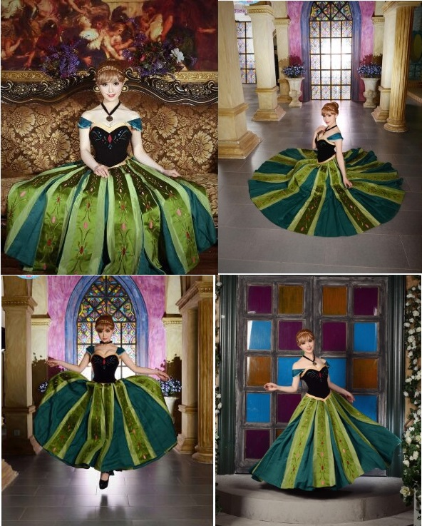 new princess anna cosplay costume coronation dress fancy dresspetticoatnecklace halloween cosplay adult - Halloween Petticoat