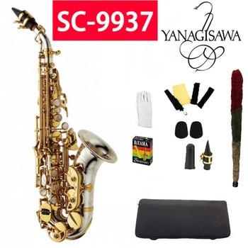 YANAGISAWA Top Curved Soprano Saxophone SC-9937 Silvering Gold key Brass Soprano Sax Saxofone Professional with case Mouthpiece