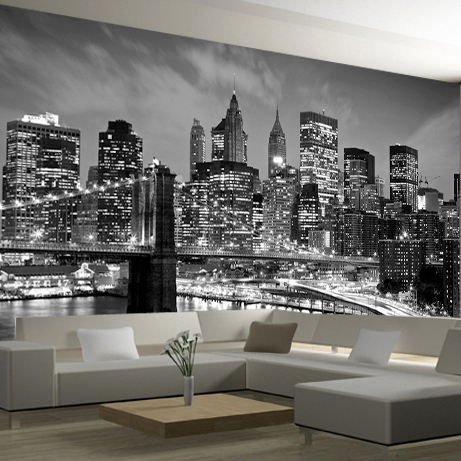 New York City Night Scenery 3d Photo Mural Wallpaper Landscape Black&White Living Room 3d Wall Murals TV Background Wall sticker wdbh custom mural 3d photo wallpaper gym sexy black and white photo tv background wall 3d wall murals wallpaper for living room