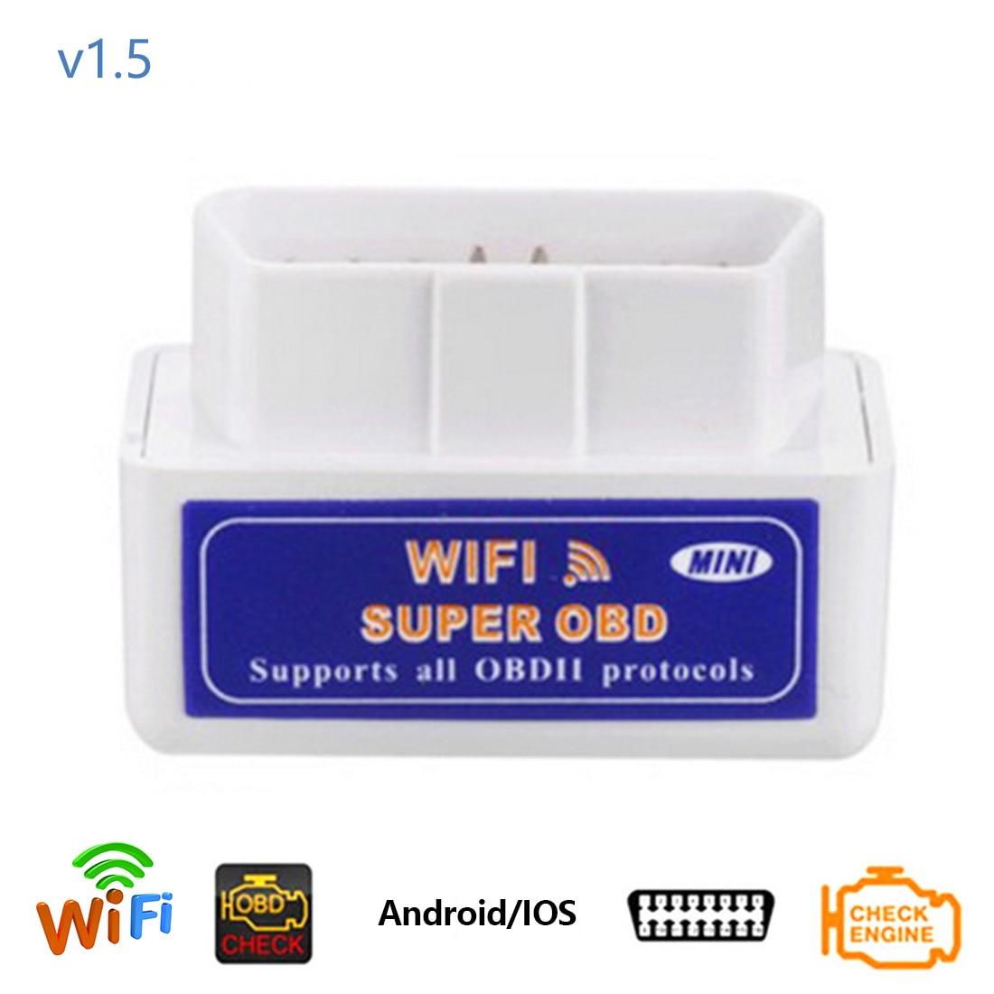 Super Mini Elm327 Bluetooth OBD2 V1.5 Elm 327 v 1,5 OBD 2 diagnóstico del automóvil-herramienta escáner Elm-327 OBDII adaptador Auto herramienta de diagnóstico