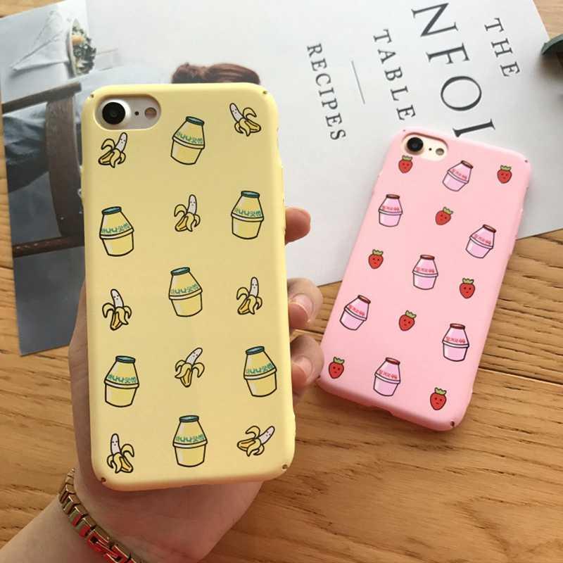 ファッションキャンディミルクボックス iphone × 6 6S 7 8 プラス携帯電話ケースかわいい漫画フルーツバナナイチゴドリンク裏表紙キャパ