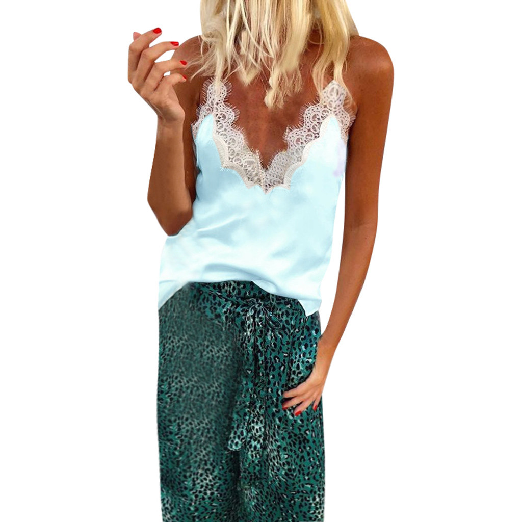 2019 FASHION Sexy Women Vevet Camisoles Summer Casual Lace Patchwork Vest   Tops   Sleeveless   Tank     Tops   T-Shirt A3