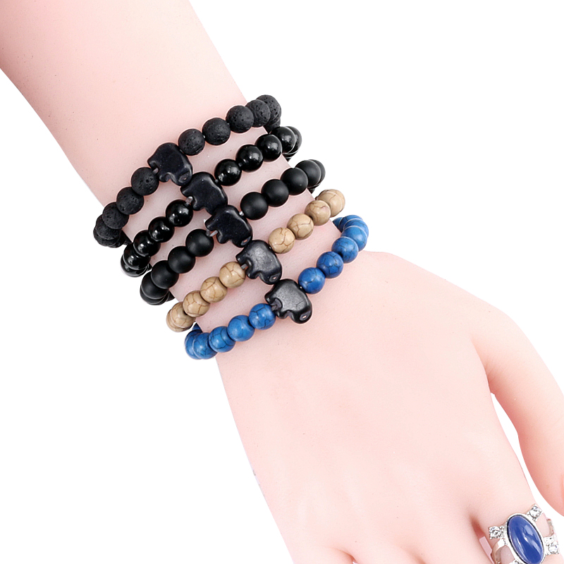Colorful Classic Natural Stone Bracelet Black Lava Matte Stone Elephant Bangles for Men Women Fashion Jewelry Accessories Homme