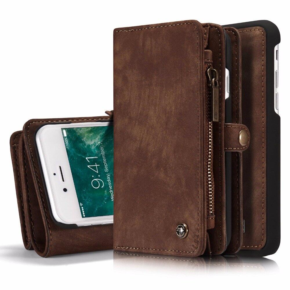 bilder für 1 stücke Für iPhone 6 S 6 S Plus 2 in 1 Abnehmbare Retro Reißverschluss brieftasche Ledertasche mit Photo Frame Kartenhalter Für iPhone 7 7 Plus