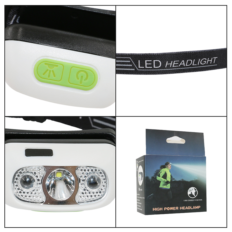 PANYUE Wholesale 10PCS LED Headlamp Reaction Portable Mini Headlight Waterproof XPG2 led rechargeable Front Head Lights in Headlamps from Lights Lighting