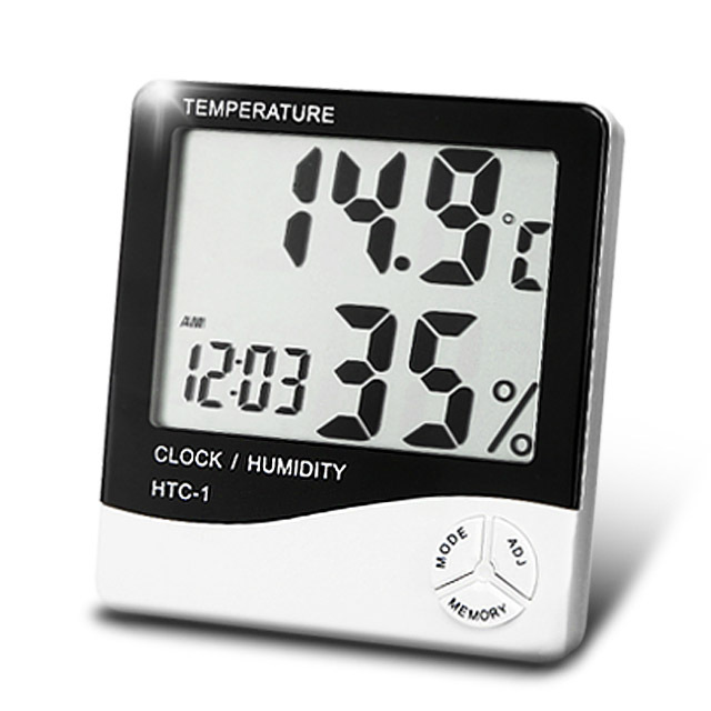 Indoor Baby Room LCD Electronic Temperature Humidity Meter Digital Thermometer Hygrometer Weather Station Alarm Clock HTC-1