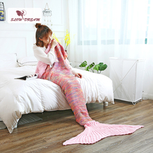 Slowdream Pink Color Mermaid Tail Blanket All Season Knitted Handmade Blanket Birthday Gift Throw Blanket Crochet Wrap Adult Kid hollow out color block crochet knitting mermaid blanket for kid