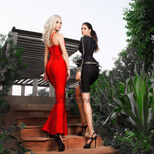 Bqueen 2017 New Summer Women Red Black V-Neck Sleeveless Backless Fishtail Long Wedding Evening Party Bandage Dresses Maxi Gown