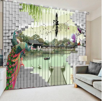 3D Curtain Classic Home Decor Curtain Design Brick Wall Peacock Lake Landscape Curtains For Bedroom Blackout Shade Window