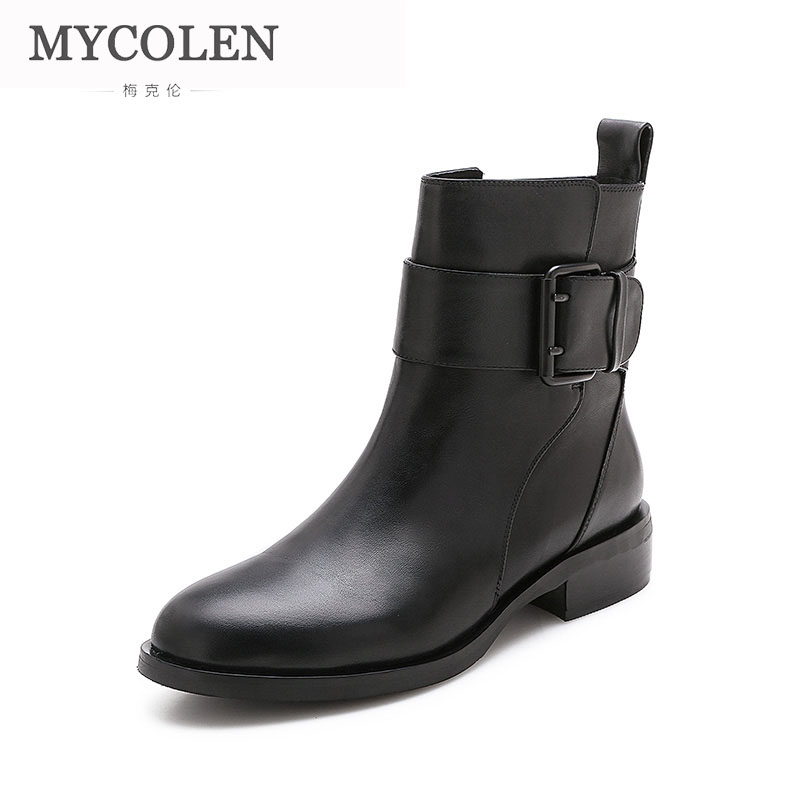 MYCOLEN 2018 Womens Comfortable Chelsea Boots Luxury Brand Top Fashion Real Leather Round Toe Chunky Ankle Boots For Women MYCOLEN 2018 Womens Comfortable Chelsea Boots Luxury Brand Top Fashion Real Leather Round Toe Chunky Ankle Boots For Women