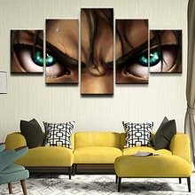 купить Canvas Art Printed Painting Modular Pictures Home Decorative Frame 5 Panels Attack on Titan Eren Yeager Anime Poster Wall Art по цене 398.6 рублей
