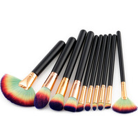 Pro Make Up Brush Set 10Pcs Amazing Hair Foundation Lose Powder Contour Brush Makeup Kits Gold