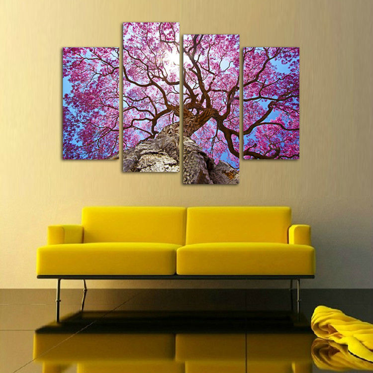 2016 Cherry Blossoms Painting Wall Art Printed On Canvas Wall ...