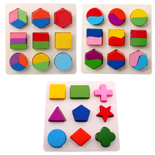 Wooden Geometric Jigsaw Puzzle Fraction Shape Puzzle Toy for Kids Montessori Early Educational Learning Toy Gift