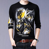 Creative moon wolf pattern printing pullover knitted boutique sweater Autumn 2018 quality cotton soft elastic sweater men M XXXL