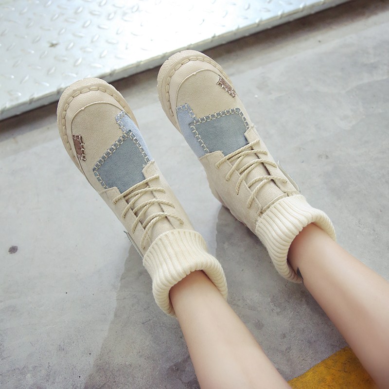 Luxury Shoes Women Designers Black Beige Winter Boots for Female Rubber Bottom Casual Shoes Women High Top Boots Brands 52