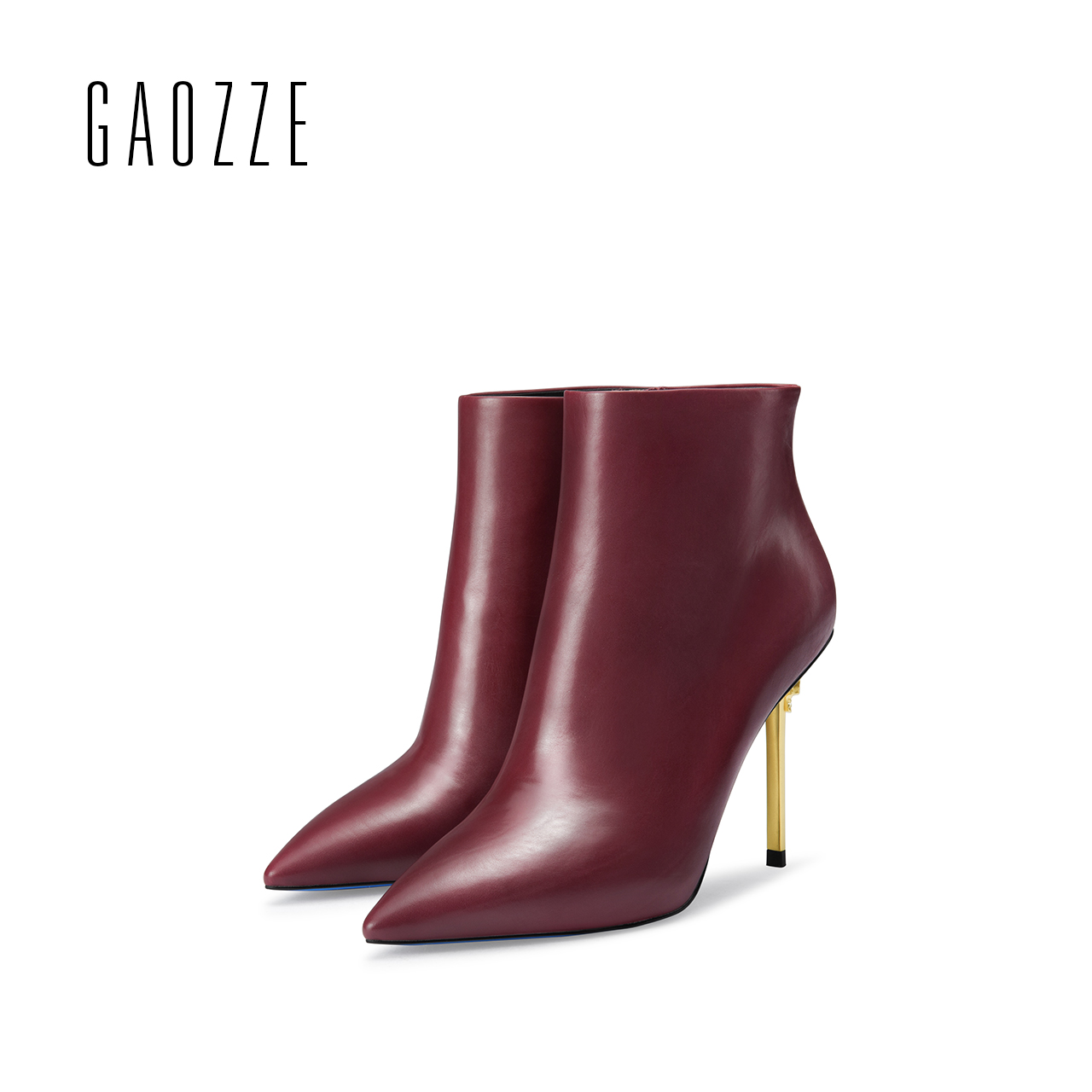 GAOZZE autumn ankle boots for women genuine leather boots high heel shoes side zipper boots female pointed toe boots 2017 new стоимость