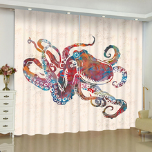 Marine Life Curtains for Window cuttlefish skull Ctopus Blinds Finished Drapes Window Blackout Curtains Parlour Room Blinds цены