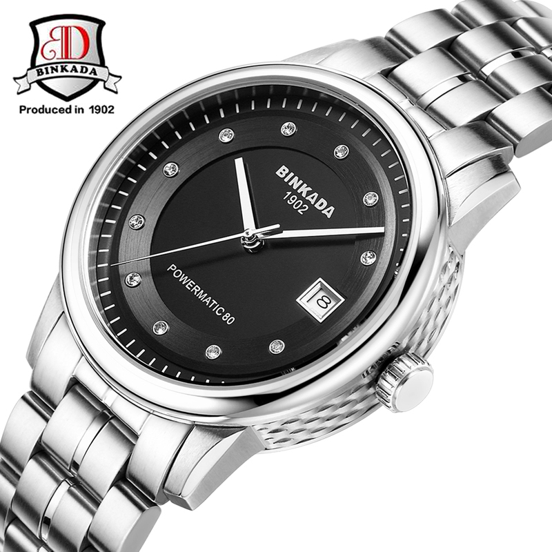 2017 BINKADA Watches Men Stainless Steel Sapphire Glass Automatic Watch Simple Wristwatches Relojes Waterproof Watch For Men relojes full stainless steel men s sprot watch black and white face vx42 movement
