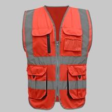 Мужской и Женский Безопасный Жилет высокой видимости, рабочий жилет, рабочая одежда, безопасный красный светоотражающий жилет, жилет для строительства с логотипом