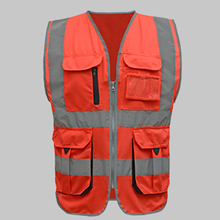 Men Woman High visibility safety vest work vest workwear safety red reflective vest construction vest with logo free shipping