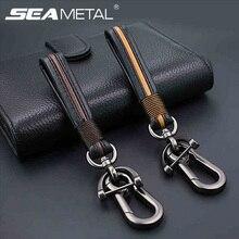 Car Key Holder Key Rings PU Leather Buckle Keychain Car Keyring Gift C