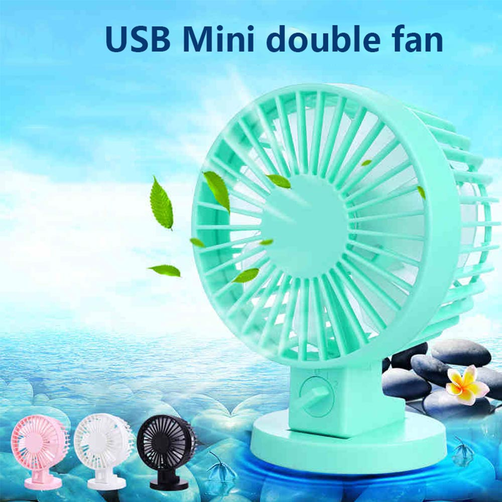 Portable 2-Mode Speed Adjustable Double-vane Double Side Blade Mini USB Desk Fan