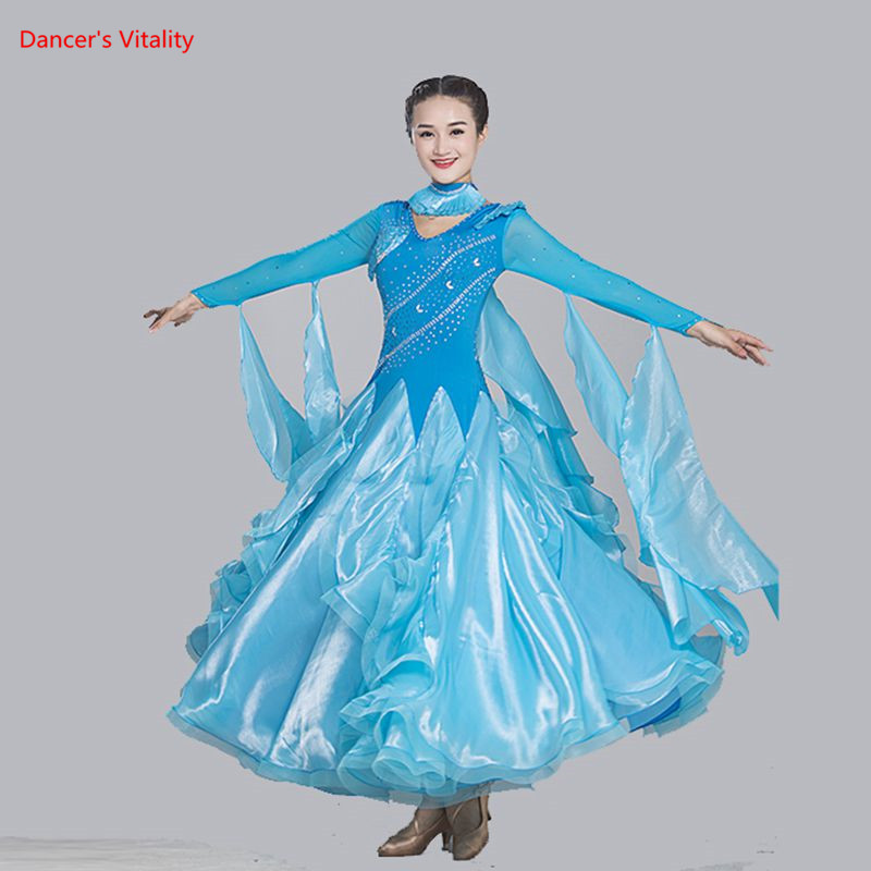 2018 New Ballroom Dance Dress Competition Costumes Luxury Diamond Standard Ballroom Dance Clothing Tango Waltz Performance Dress