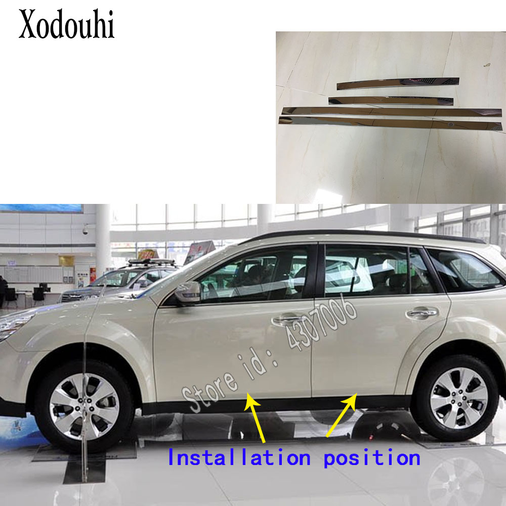 For Subaru Outback 2010 2011 2012 2013 2014 Car Styling Body Side Door Trim Stick Strip Lamp Panel Molding Frame Parts 4pcs