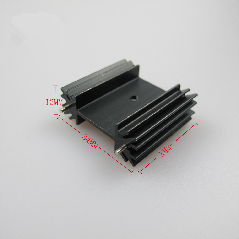 6PCS Triode IC heat sink TO-220 781 7805 TO-3P IC Aluminum Heatsink 34*12*30mm Cooling Fin Fan Black Cooler Radiator 200pcs lot 0 36kg heatsink 14 14 6 mm fin silver quality radiator