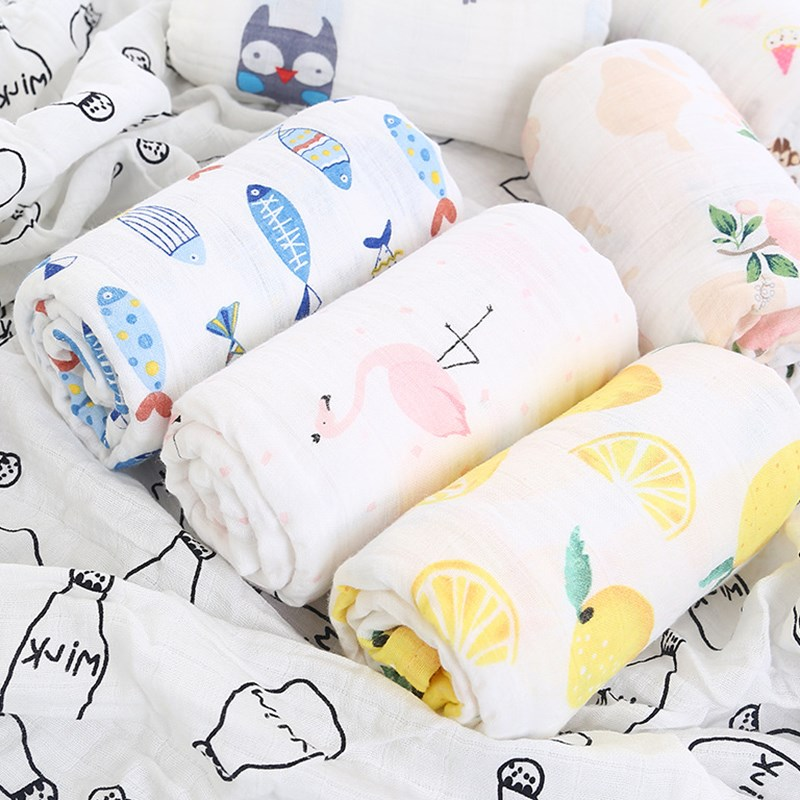 1Pc Baby Towel Newborn Bath Towel Muslin 100% Cotton Baby Bathrobe Swaddles Infant Blankets Gauze Wrap Sleepsack Stroller Cover