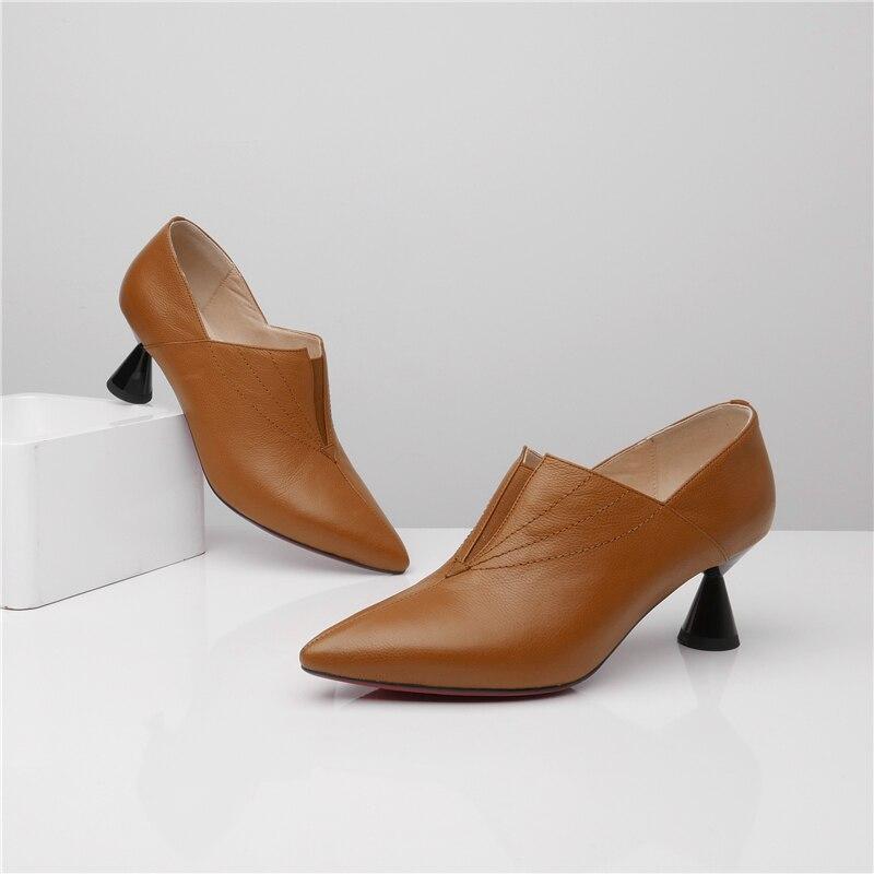 Mode Étrange Bout Femmes Nude Brun La En Cuir Pompes marron 33 Pointu 43 Talons Plus Véritable Chaussures De Concise Noir Msstor Style Taille Haute USwqUxd