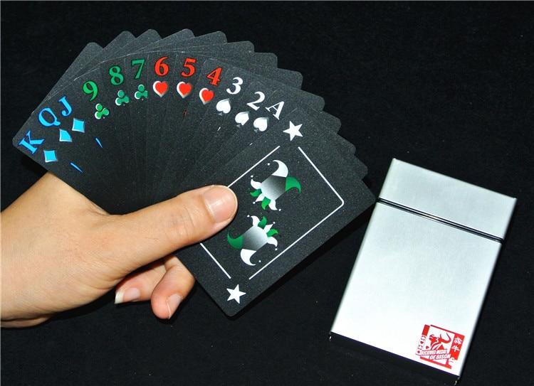 Pvc Waterproof Poker Professional Stage Magic Show Props Creative Aluminum Box Black Plastic Poker Collection Poker Toys